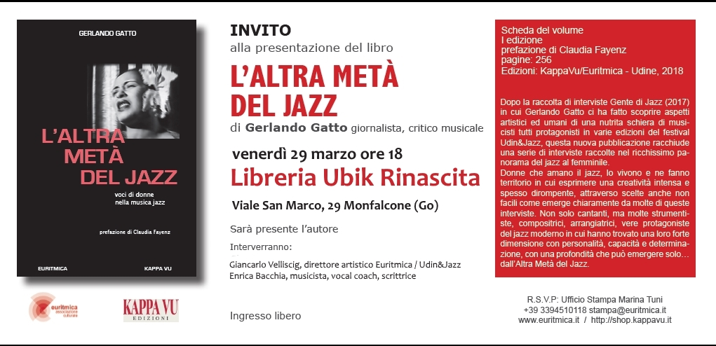 Addict going to decide Cupboard  A Monfalcone una nuova presentazione de L'altra metà del Jazz, il secondo  libro di Gerlando Gatto | A Proposito di Jazz - Di e con Gerlando Gatto